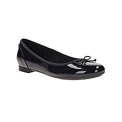 Clarks - Navy patent 'Couture Bloom' slip on pump