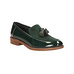 Clarks - Green patent 'Taylor Spring' slip on loafer