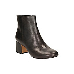 Clarks - Black leather 'Barley May' heeled ankle boot