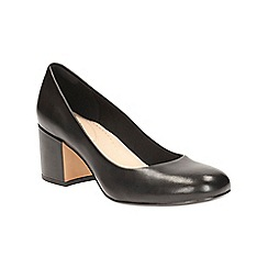 Clarks - Black leather 'Barley Rose' heeled court shoe