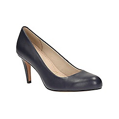 Clarks - Navy leather 'Carlita Cove' heeled court shoe