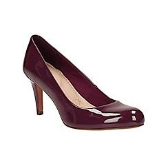 Clarks - plum patent 'Carlita Cove' heeled court shoe
