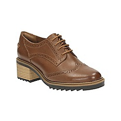 Clarks - Tan leather 'Balmer Bella' heeled lace up brogue