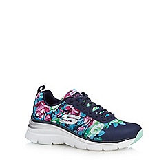 Skechers - Navy floral print 'Fashion Fit' trainers