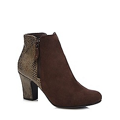 Hotter - Dark brown 'Divine' snake skin ankle boots