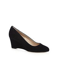 J by Jasper Conran - Black suede low wedge courts