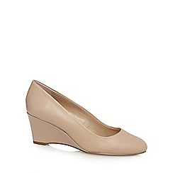 J by Jasper Conran - Beige leather low wedge courts