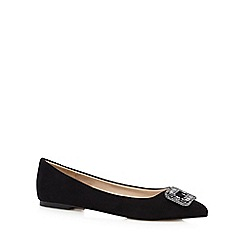 J by Jasper Conran - Black stone buckle slip-on shoes