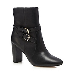 J by Jasper Conran - Black leather buckle high block boots
