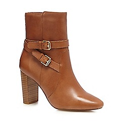 J by Jasper Conran - Tan leather buckle high block boots