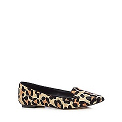 J by Jasper Conran - Light tan leather leopard print flat shoes