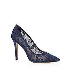 J by Jasper Conran - Blue floral lace high court shoes