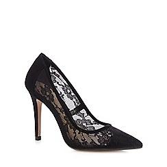 J by Jasper Conran - Black floral mesh high court shoes