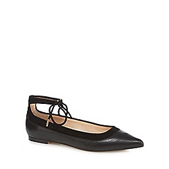 J by Jasper Conran - Black ankle tie flat shoes