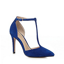 J by Jasper Conran - Blue suede high stiletto heel T-bar shoes