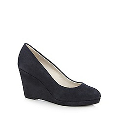 RJR.John Rocha - Navy suede high wedge court shoes