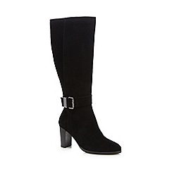 J by Jasper Conran - Black suede buckle calf length boots
