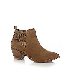 J by Jasper Conran - Tan suede block heel ankle boots