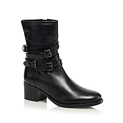 J by Jasper Conran - Black buckle calf length boots