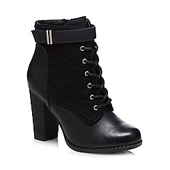 Call It Spring - Black 'Acirari' quilted lace up block heeled mid boots