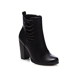 Call It Spring - Black 'Boraccini' side lace blocked heeled mid boots