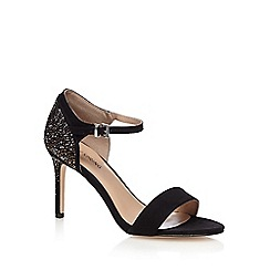 Call It Spring - Black suedette 'Hewien' high stiletto heel ankle strap sandals
