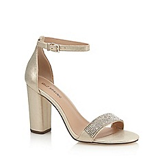 Call It Spring - Gold diamante 'Mirelivia' high block heel ankle strap sandals