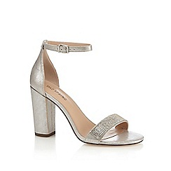 Call It Spring - Silver diamante 'Mirelivia' high block heel ankle strap sandals