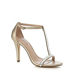 Call It Spring - Gold diamante 'Jerirwen' high stiletto heel T-bar sandals