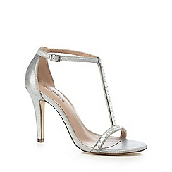 Call It Spring - Silver diamante 'Jerirwen' high stiletto heel T-bar sandals