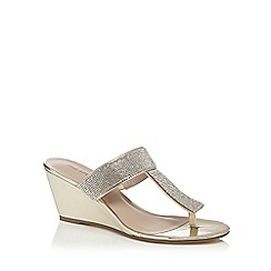 Call It Spring - Gold diamante 'Reonis' high wedge heel T-bar sandals