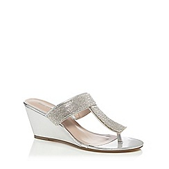 Call It Spring - Silver diamante 'Reonis' high wedge heel T-bar sandals