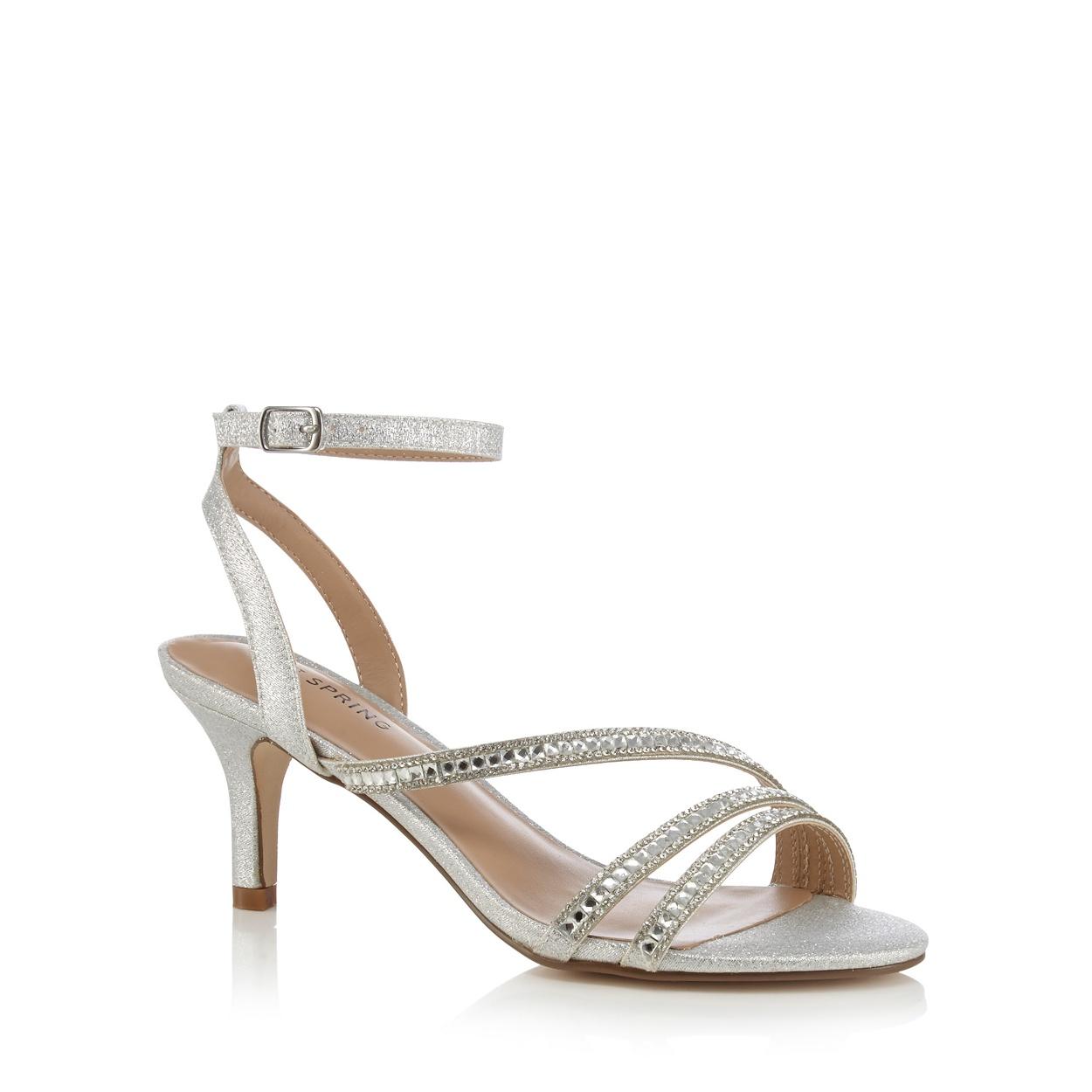 Black sandals debenhams - Call It Spring Silver Glerawiel High Stiletto Heel Ankle Strap Sandals