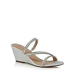 Call It Spring - Silver glittery 'Froetha' mid wedge heel mules