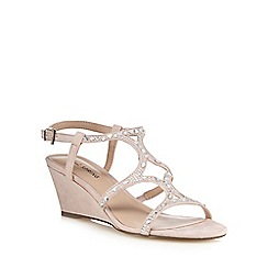 Call It Spring - Light pink suedette 'Corpe' mid wedge heel ankle strap sandals