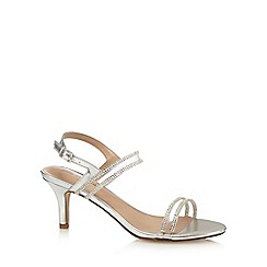 Call It Spring - Silver 'Menin' mid kitten heel ankle strap sandals