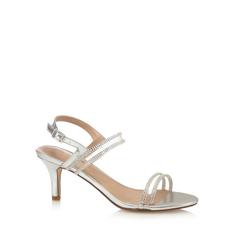 Call It Spring Silver Menin mid kitten heel ankle strap sandals