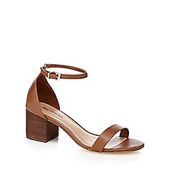 Call It Spring - Tan 'Borewiel' mid block heel ankle strap sandals