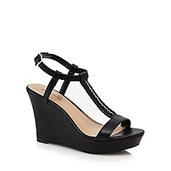Call It Spring - Black 'Leathers' high wedge t-bar sandals