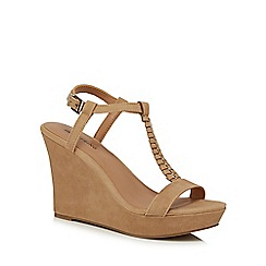 Call It Spring - Off white 'Leathers' high wedge t-bar sandals