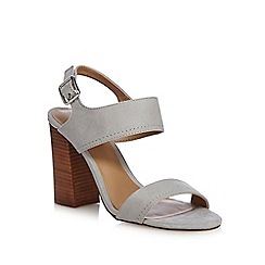 Call It Spring - Grey suedette 'Peawia' high block heel ankle strap sandals