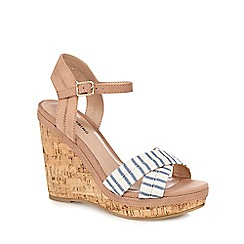 Call It Spring - White and blue 'Traighli' high wedge heel ankle strap sandals