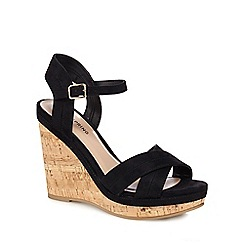 Call It Spring - Black 'Traighli' high wedge heel ankle strap sandals