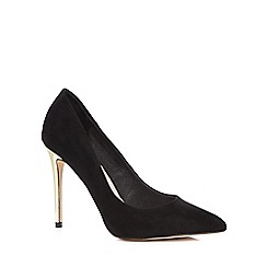 Faith - Black suedette 'Cleo' high stiletto heel pointed shoes