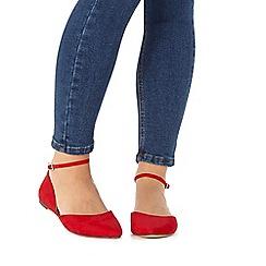 Faith - Red wide fit 'Al' flat shoes