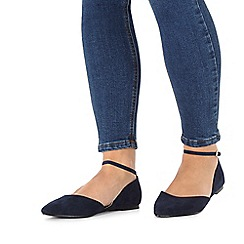 Faith - Navy wide fit 'Al' flat shoes