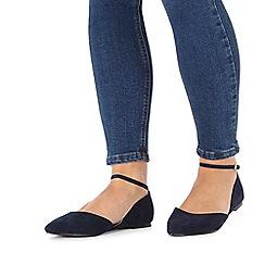 Faith - Navy wide fit 'Al' flat shoes