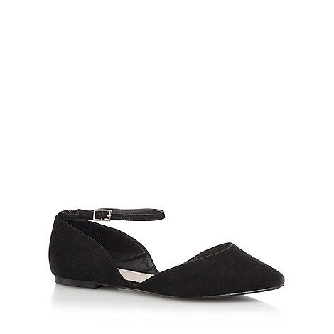 Faith - Black suedette +Al+ wide fit ankle strap sandals