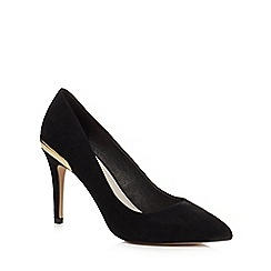 Faith - Black suedette 'Coleen' mid stiletto heel court shoes