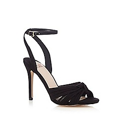 Faith - Black suedette 'Drama' high stiletto heel ankle strap sandals